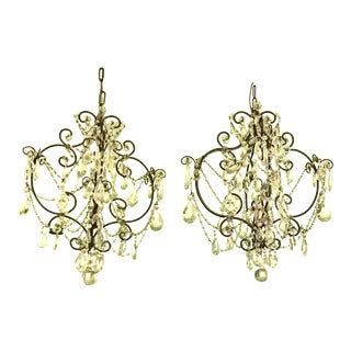 Vintage Medium Size Crystal & Bronze Chandeliers - a Pair For Sale