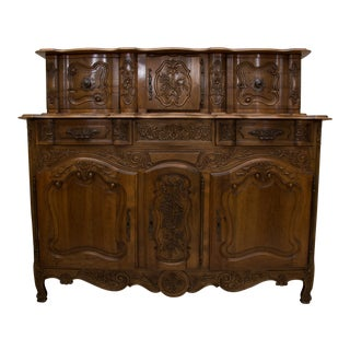 20th Century, French, Louis XV Style Walnut Buffet with Super Structure