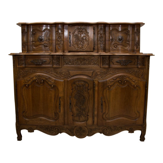 20th Century, French, Louis XV Style Walnut Buffet with Super Structure For Sale