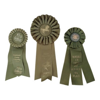 Set of 3- Equestrian Horse Race Medal Ribbons For Sale