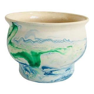 Vintage Nemadji Pottery Cache Pot - Blue and Green Swirls For Sale