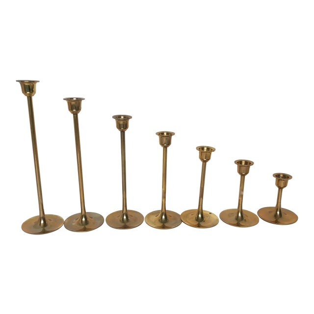 Vintage Tulip Style Brass Graduated Candle Holders - Set of 7 For Sale