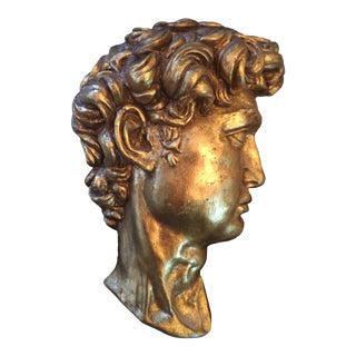 1970s Vintage Hollywood Regency Style Golden David Figural Relief