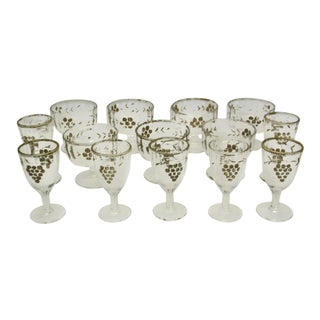 1960s Vintage Dessert & Cordial Glass Set - 14 Pieces For Sale
