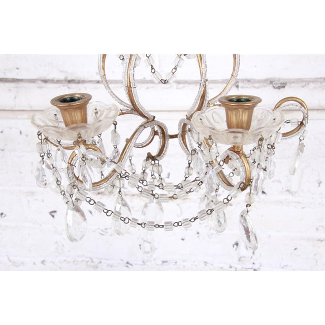 Pair of Antique Italian Baroque Wall Sconces in Crystal, Brass, and Gilt Metal For Sale - Image 12 of 13