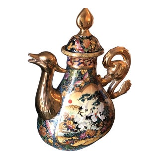 Vintage Asian Chinoiserie Teapot Satsuma Signed For Sale