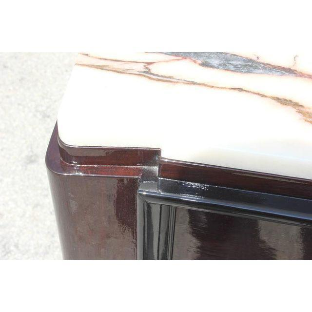 Metal 1940s Maurice Rinck French Art Deco Marble Top Macassar Ebony Sideboard / Bar For Sale - Image 7 of 10