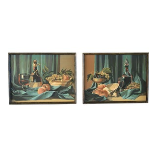 1960s Vintage Still Life Paintings - A Pair For Sale