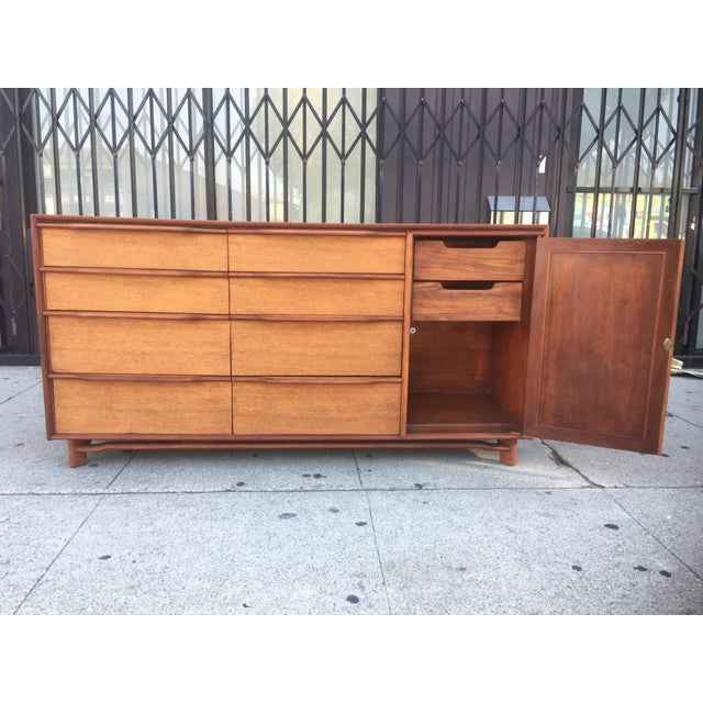 Mid-Century Sculptural Credenza with Cane Details For Sale In Los Angeles - Image 6 of 10