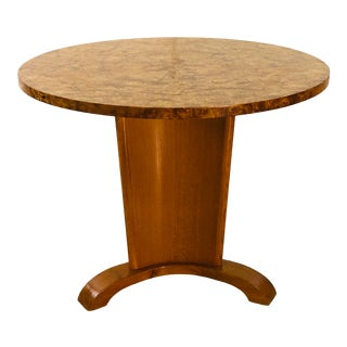Swedish Round Burl Wood Table Attr. To Josef Frank For Sale