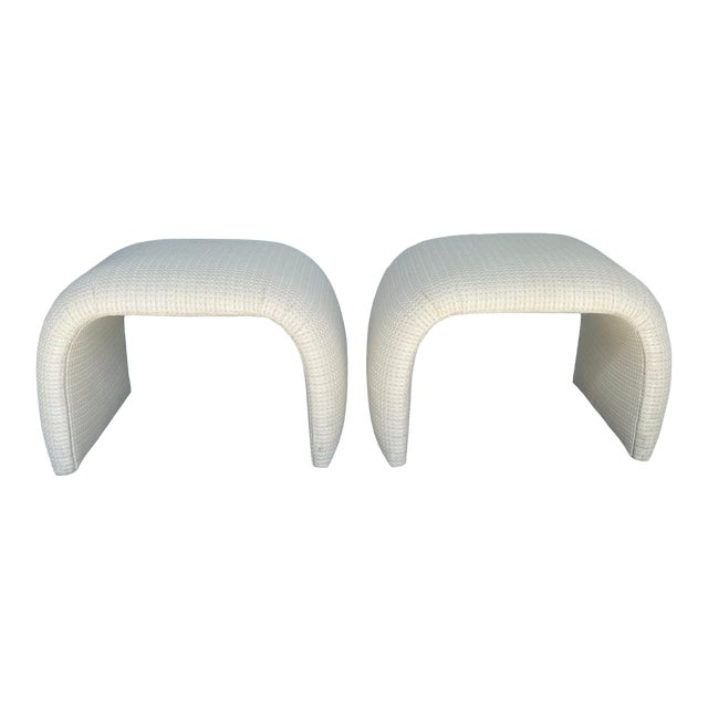 Vintage Contemporary Upholstered Waterfall Benches - a Pair For Sale