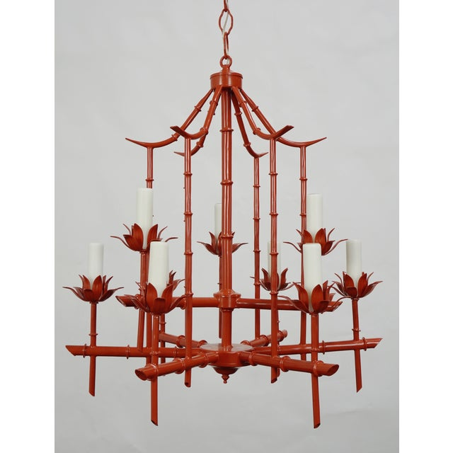 Metal Faux Bamboo Pagoda Chandelier For Sale - Image 7 of 7
