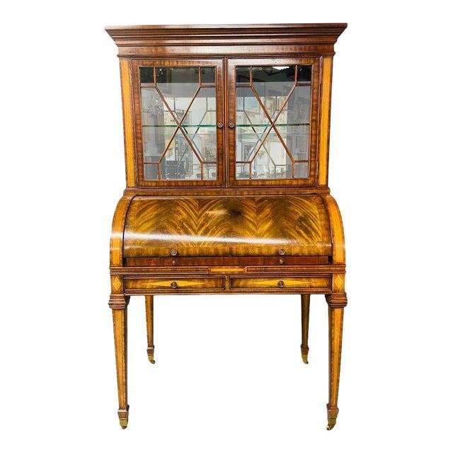 Vintage Regency Maitland Smith Flame Mahogany Burl Two Part Secretary Desk For Sale