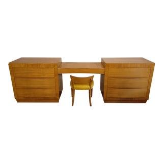 1940s Vintage RWay Furniture Co Blonde Mahogany Dresser For Sale
