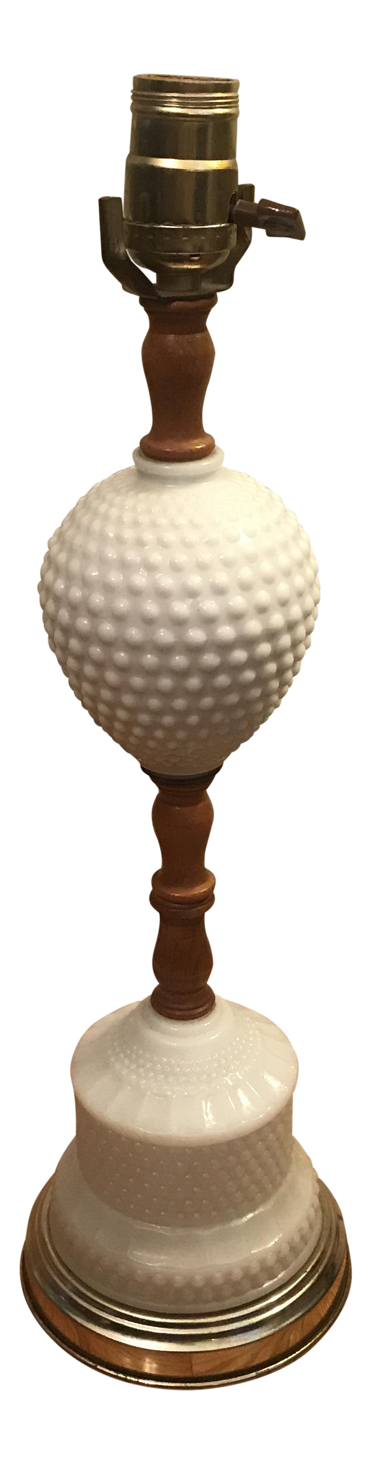 Perfect Vintage White Hobnail Milk Glass U0026 Wood Lamp