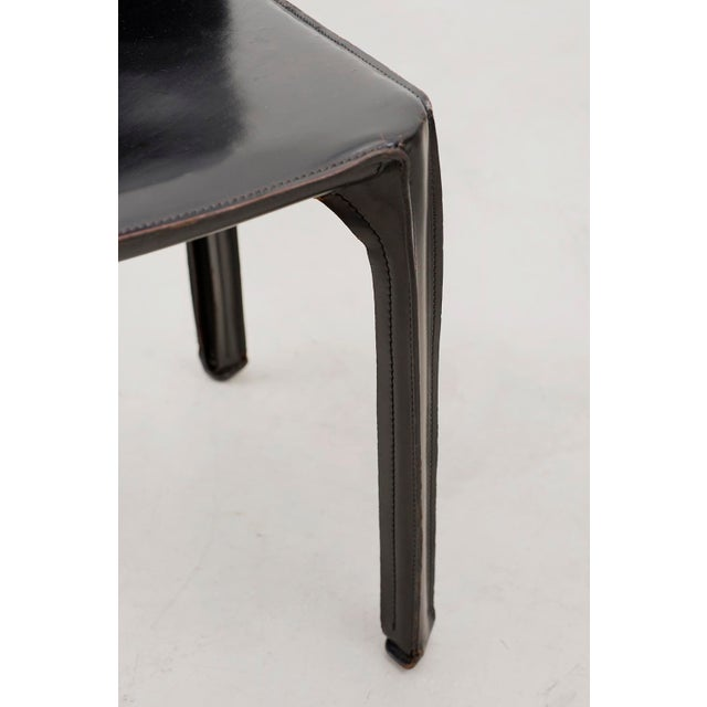 Set of 10 Cab Chairs by Mario Bellini--6 Arm, 4 Side--In Black Leather, 1970s For Sale - Image 9 of 13