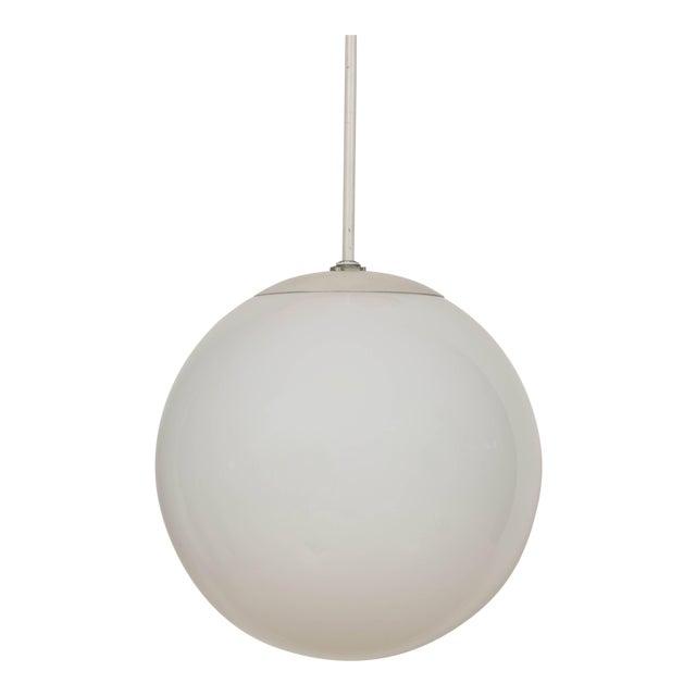 1960s Large Glass Globe Pendant Lamp