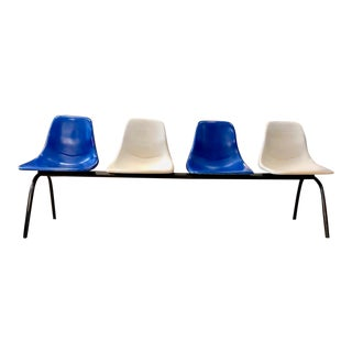 Mid Century Modern Eames Style Shell Chair Airport Bench Seating For Sale