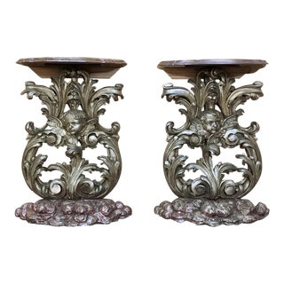 Pair 19th Century Italian Baroque Giltwood Consoles For Sale