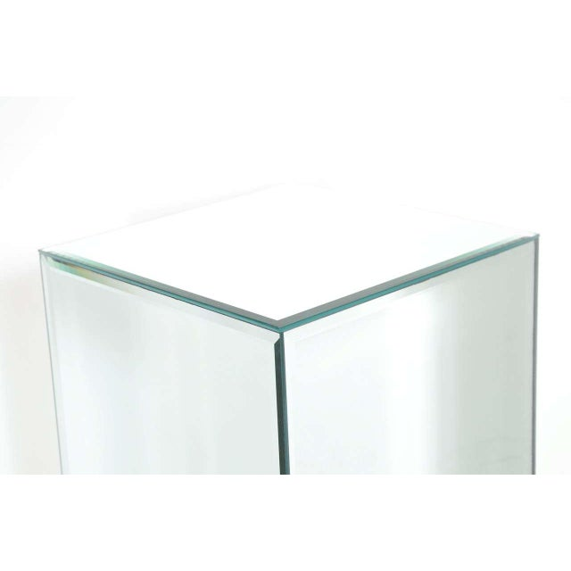 Modern Modernist Hand Beveled Mirrored Pedestal For Sale - Image 3 of 7