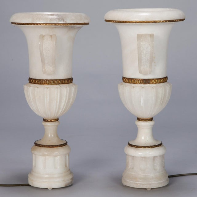 Italian Pair Tall Urn Form Alabaster and Bronze Lamps For Sale - Image 3 of 11