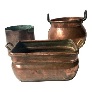 Copper Planters Rustic Decorative Plant Pots - Set of 3