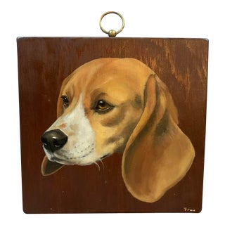 Vintage Original Beagle Painting Dog Portrait on Wood For Sale