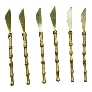 1950s Bucklers Gold Bamboo Cocktail Knives- Set of 6 For Sale