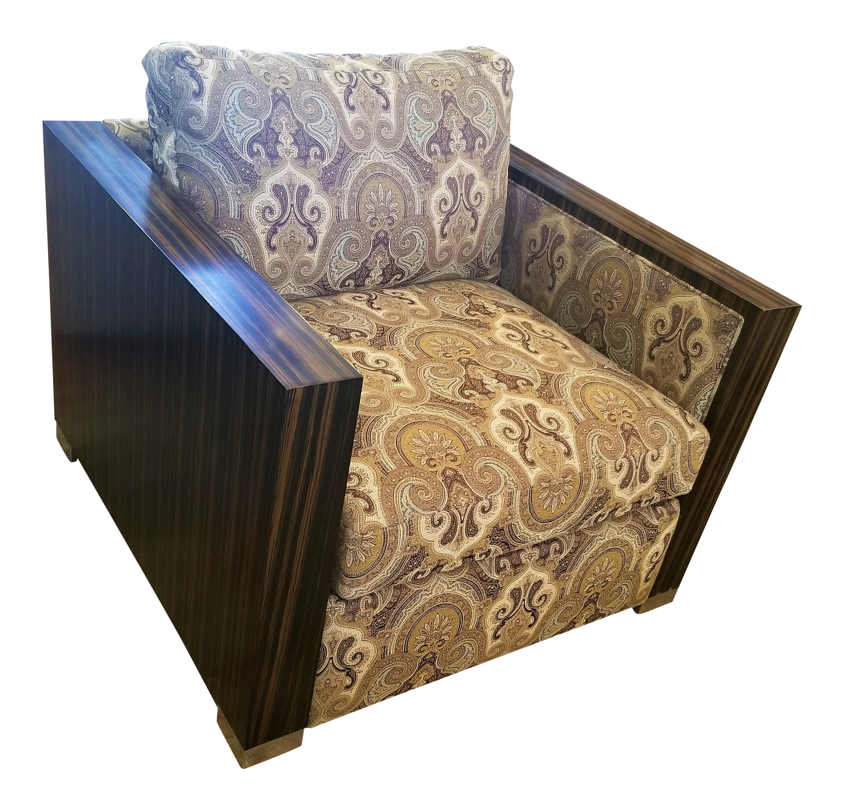 Bernhardt Brown Patterned Fabric Armchair With Lacquered Wood Sides For Sale