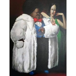 Leandro Velasco, Man in Fur Coat with Lady in Green, 1977