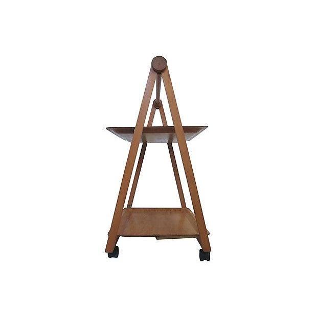 Danish Mid-Century Modern Folding Teak Bar Cart - Image 4 of 7