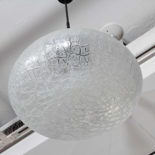 Mid-Century Modern Textured Glass Pendant Fixture, Germany For Sale - Image 3 of 5