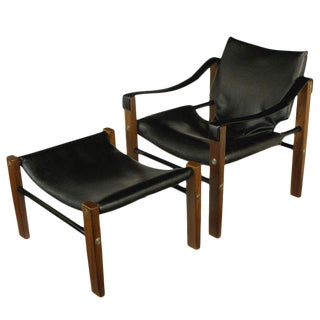 Maurice Burke 1960s Safari Chair and Ottoman