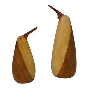 1960s Teak Penguin Salt & Pepper Shakers - A Pair For Sale