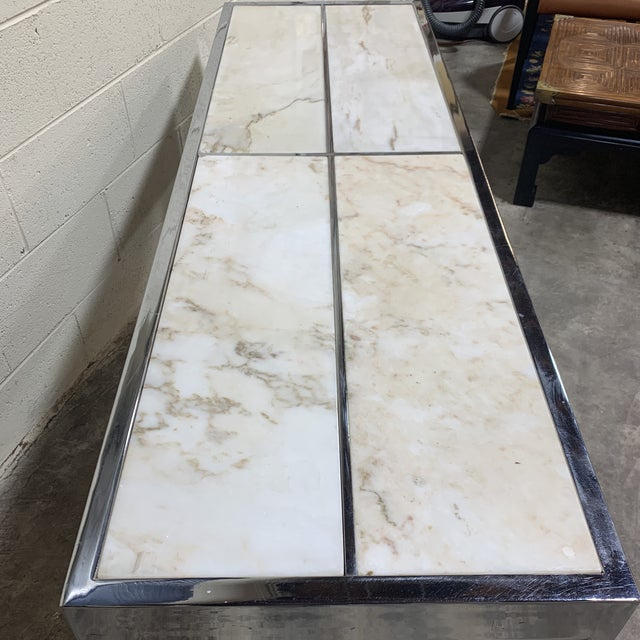 1970s Pace Carrara Marble & Chrome Console Table For Sale - Image 5 of 12