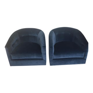 Hollywood Regency Navy Tufted Velvet Swivel Barrel Chairs - a Pair