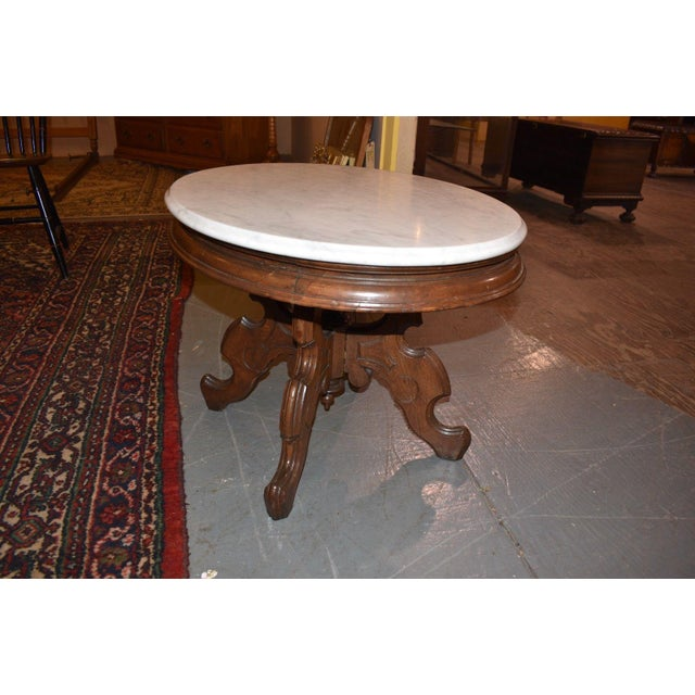 Edwardian Oval Marble Top Eastlake Style Coffee Table For Sale - Image 3 of 8