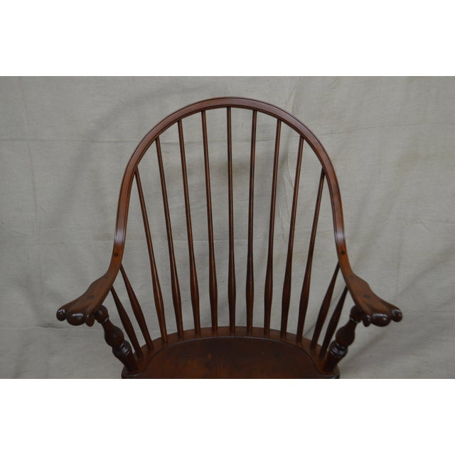 Traditional Custom Quality Pair of Solid Cherry Windsor Armchairs For Sale - Image 3 of 13