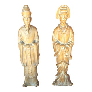 Vintage 1950's Man and Woman Carved Oriental Figures - a Pair For Sale