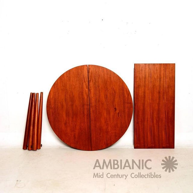 1960s Danish Modern Teak Round Oval Dining Table For Sale - Image 5 of 8
