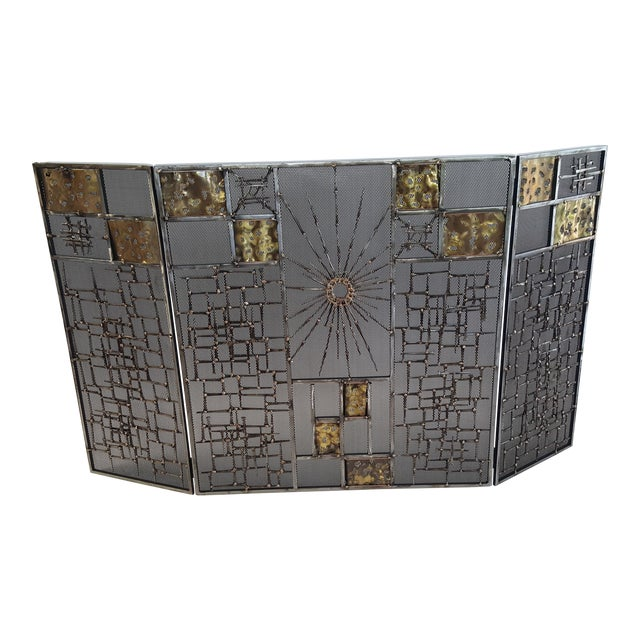 Brutalist Welded Sculptural Fireplace Screen - Image 1 of 9