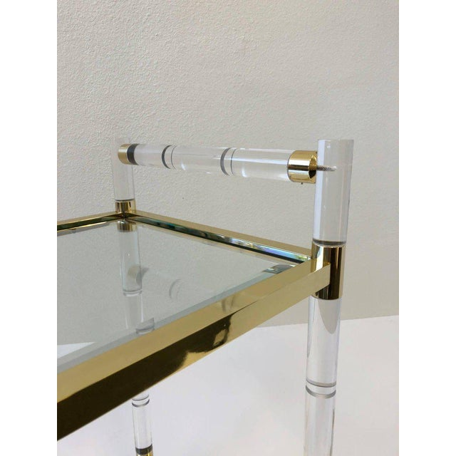 Italian Brass and Lucite Bar Cart For Sale - Image 4 of 9