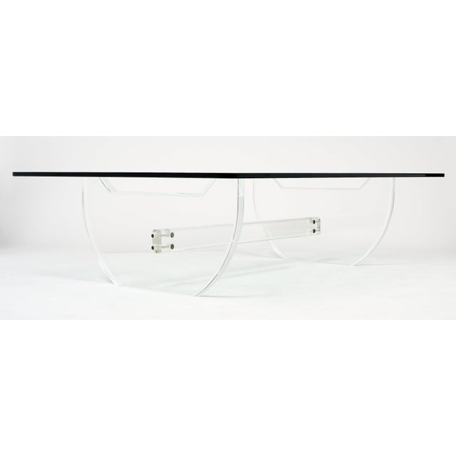 Transparent French Modernist Lucite Coffee Table For Sale - Image 8 of 10