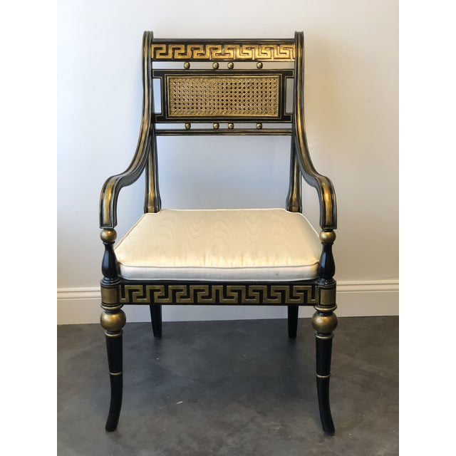 Caning Hollywood Regency Gold & Black Greek Key Accent Chair by Maitland Smith For Sale - Image 7 of 11