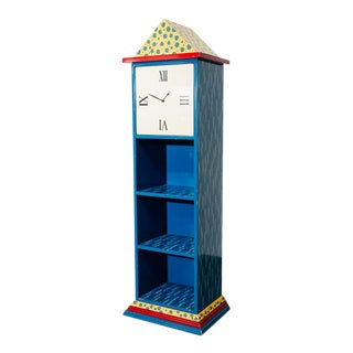 Postmodern Clock Bookcase For Sale