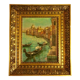 Early 20th Century Antique Venice Canal Oil Painting For Sale