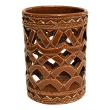 Image of Moroccan Hand Painted Brown Ceramic Tealight Cup Holder For Sale