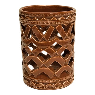 Moroccan Hand Painted Brown Ceramic Tealight Cup Holder For Sale