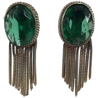 1950s Faux Emeralds With Gold Metallic Fringe Earrings For Sale