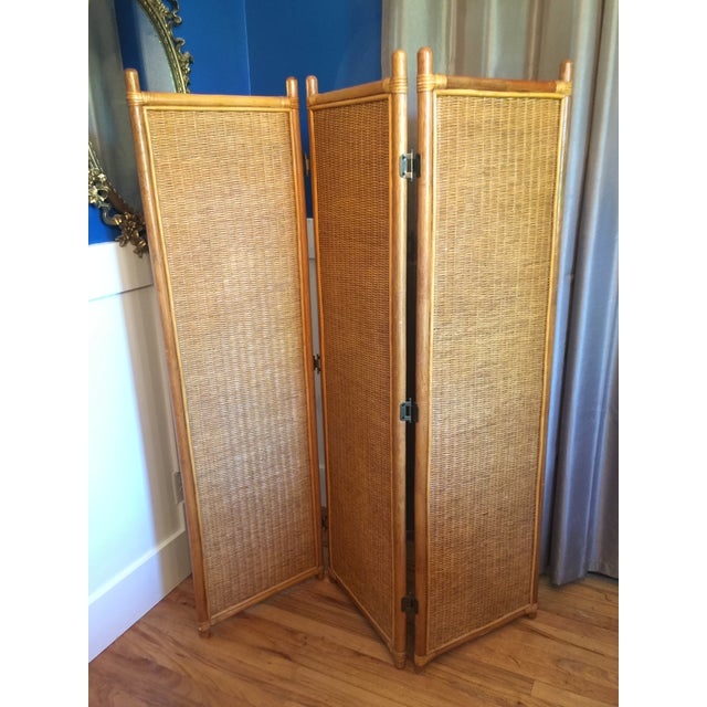 Vintage Rattan Bamboo 3 Panel Folding Screen Room Divider For Sale - Image 9 of 10